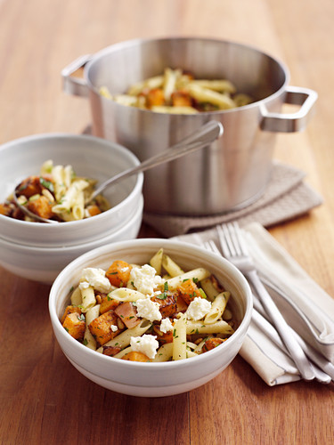 Pumpkin, pine nut and bacon penne