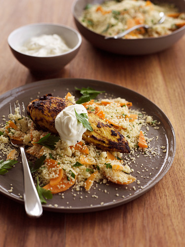 Curried chicken with carrot cous cous