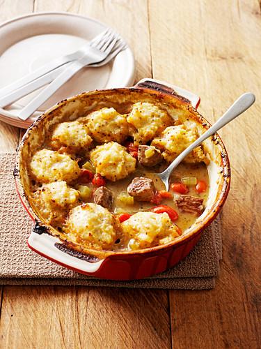 Lamb casserole with swede dumplings