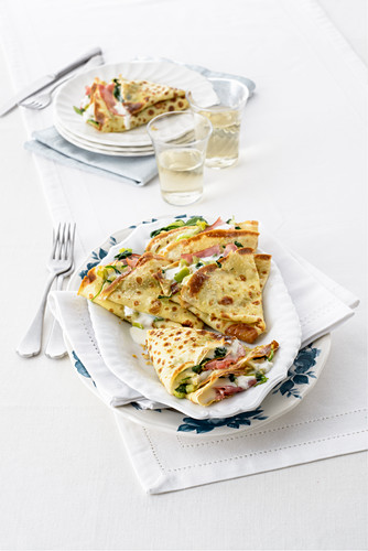 Crêpes with ham and Camembert