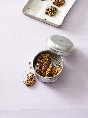 Crispy nut biscuits with seeds and cocoa nibs