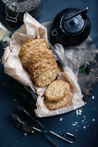 Vegan oat and chia seeds
