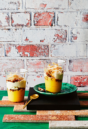 Saffron lemon curd with ginger macadamia toffee