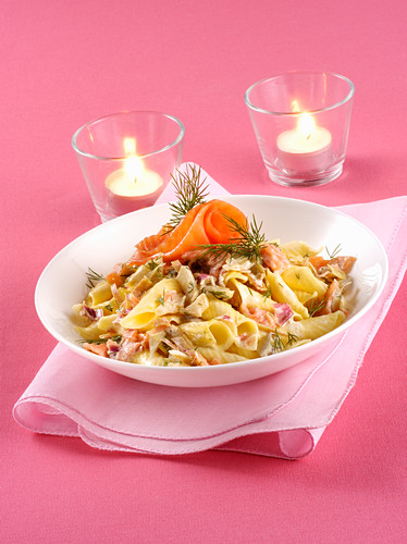 Garganelli with artichokes and smoked salmon
