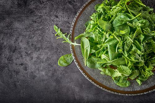 Green salad arugula and baby spinach
