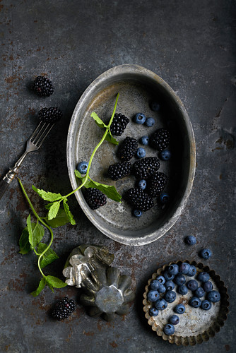 Still life of blueberries, black berries and mint