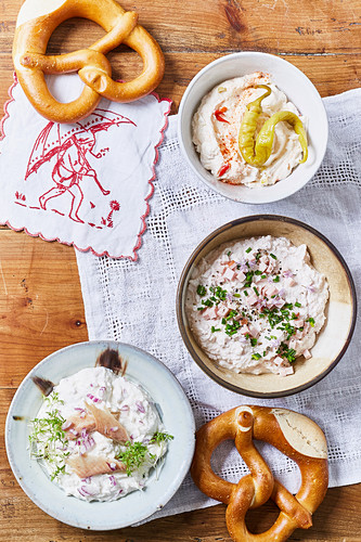 Various spreads with pretzels
