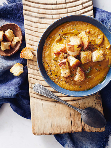 Pumpkin and chestnut soup with parmesan croutons, Italy