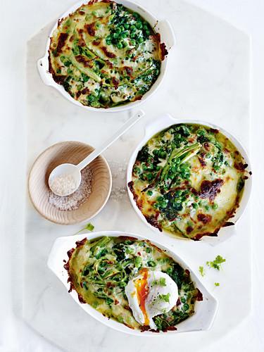 Broccolini, pea and asparagus breakfast gratin