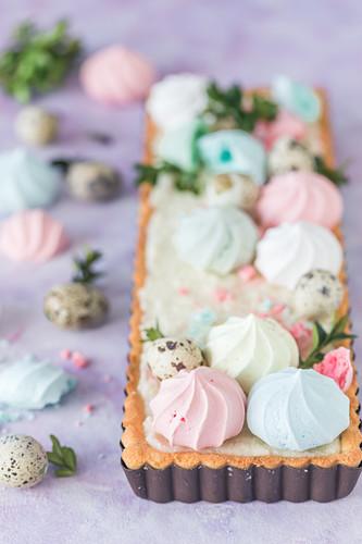 Mazurek (Polish Easter cake) with meringues