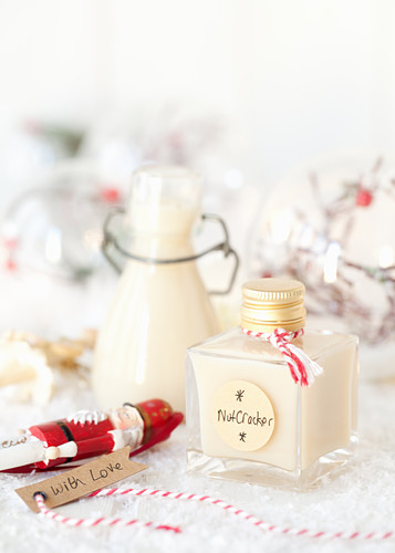Christmas white chocolate liqueur in a glass bottle for gifting
