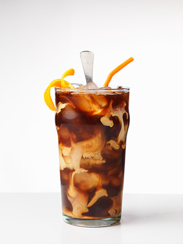 Iced coffee with oranges