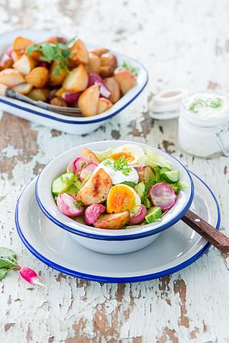 Baked potato and radish salad