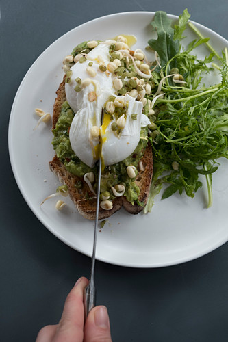 Baked bread with a poached egg and sprouts