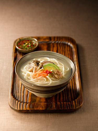 Kalguksu (soup with hand-rolled noodles, Korea)