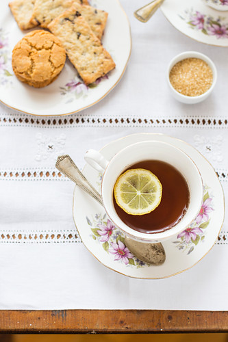 Afternoon tea with biscuits
