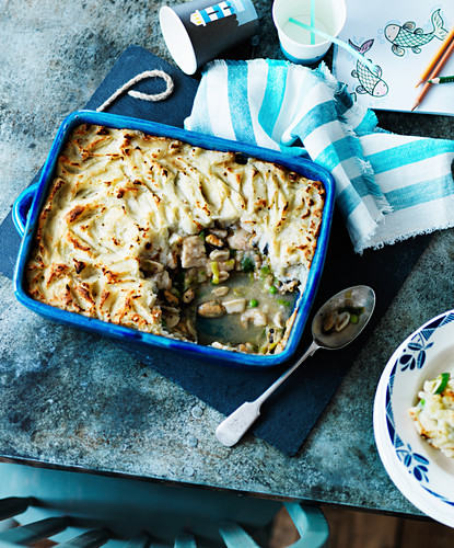 Fish pie with seafood and mashed potato