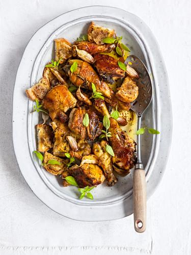 Pollo all'aglio (chicken with garlic, Italy)