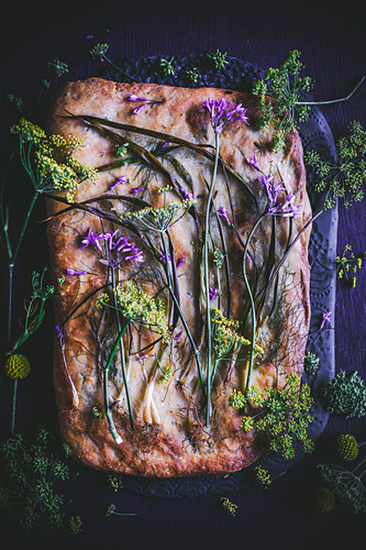 Roasted spring onion and fennel-flower focaccia with blue cheese