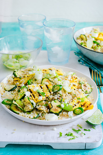 Herbed quinoa with grilled pineapple and zucchini