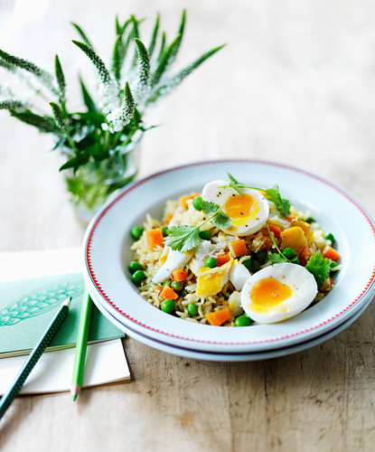 Kedgeree with soft-boiled eggs