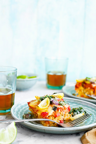 Spaghetti Squash Enchilada Casserole served with Cilantro Salsa and Beer