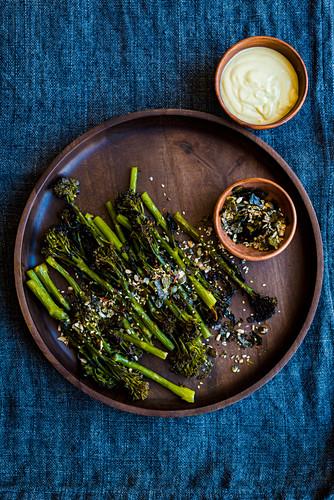 Broccolini with nori, salt and wasabi