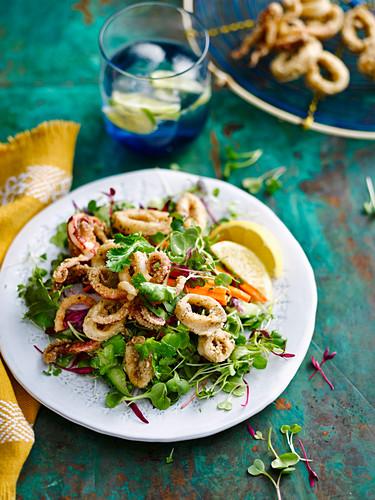 Salat mit gewürztem Tintenfisch