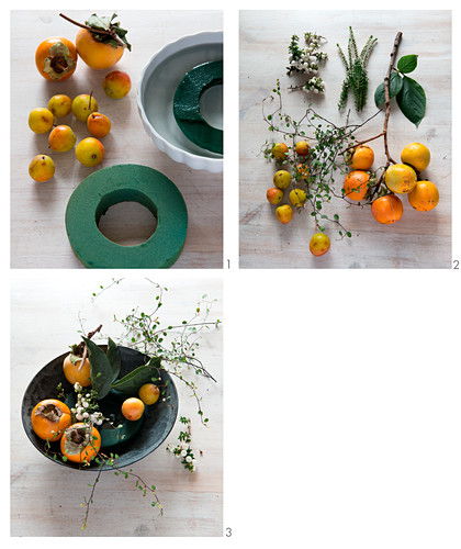 Instructions for arranging bowl of persimmons and snowberries