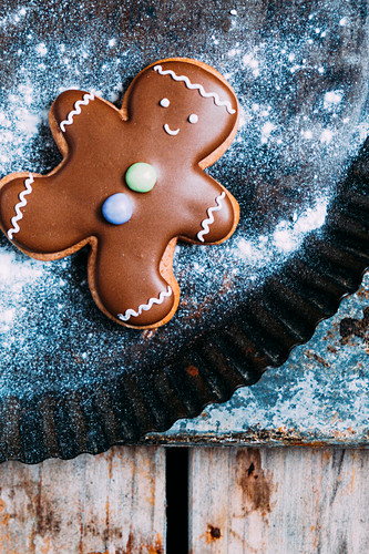 Gingerbreadman for Christams on a baking tray