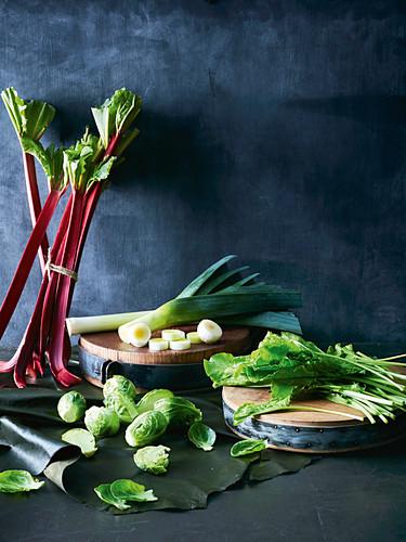 Rhubarb, brussel sprouts, sorrel and leek