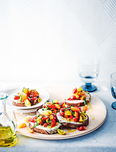 Grilled ricotta bruschetta with sweet and sour tomatoes