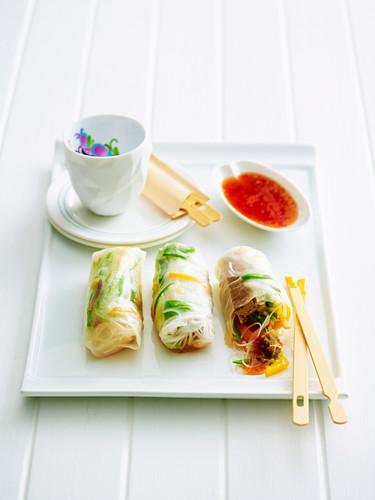 Reispapierröllchen mit Gemüsejulienne und Chilisauce (Asien)
