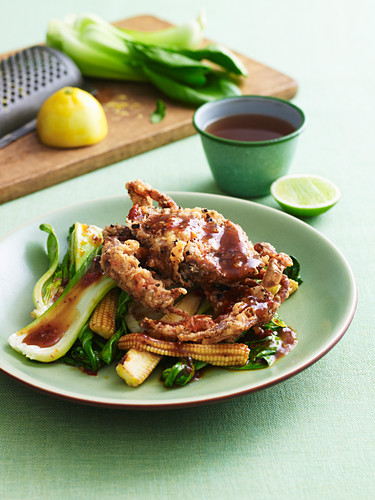 Stir-fried soft shell crab with pak choy and chilli sauce