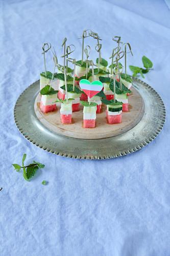Persian watermelon and feta skewers