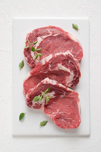 Raw loin steaks