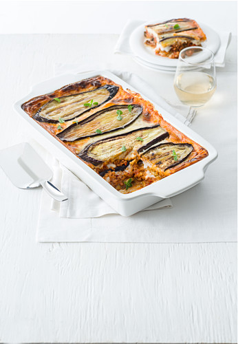 Mousaka with an aubergine crust