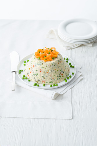 Russian salad with potatoes, tuna fish, beans and peas