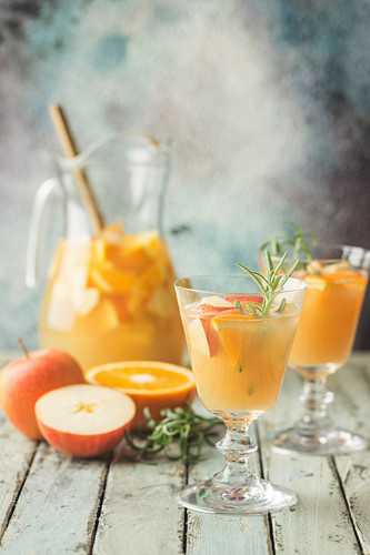 Refreshing summer drink punch with fruits