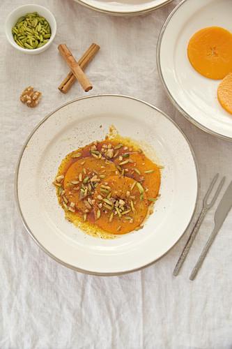 Butternut squash in saffron and cinnamon syrup (Persian dessert)
