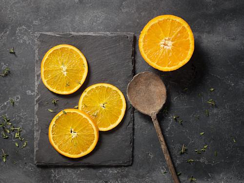 Oranges on slate