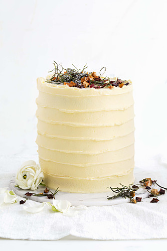 Spiced parsnip cake with apple jam and cream cheese frosting