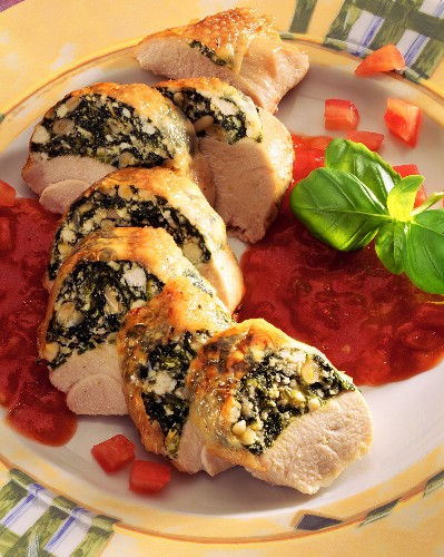 Turkey breast stuffed under skin with spinach & sheep's cheese