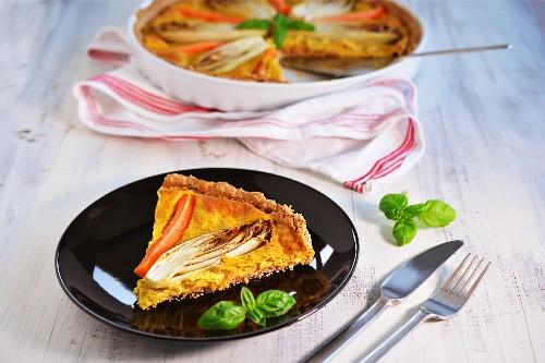 Tarte mit Chicoree und Karotten