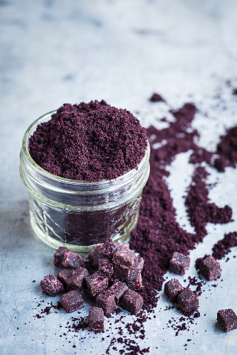 Acai berry powder in a glass