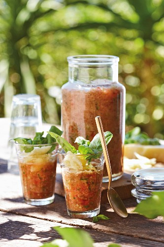 Cold tomato and basil soup