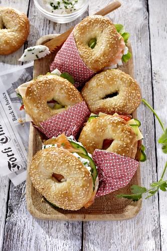 Different bagel sandwich varieties