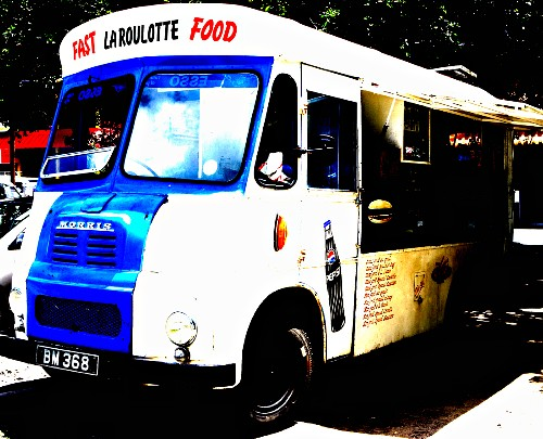 A food truck in a car park