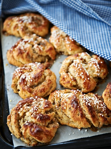 Swedish almond and yeast rolls with sugar crystals