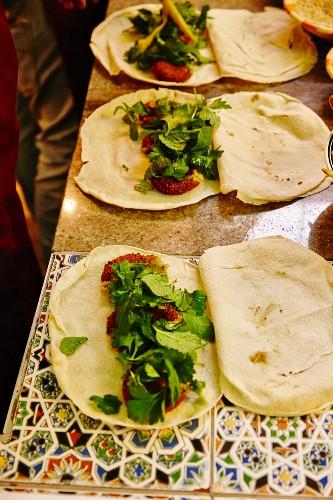 Falafel sandwiches at the BeirutBeirut fast food cafe, Untersendling, Munich